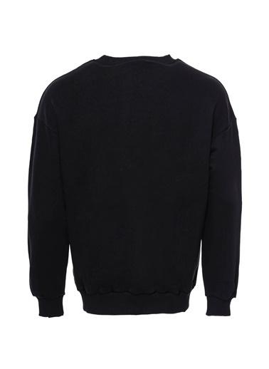 Wessi Wessı Erkek Bisiklet Yaka Baskılı Sweatshirt Siyah